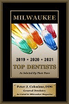 2019, 2020, 2021 Milwaukee Magazine Top Dentist badge